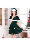 クリスマス新品 クリスマスツリー ドレス 短袖 レディース クリスマスコスチューム 2点セット