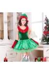 クリスマス新品 クリスマスツリー ドレス ノースリーブ レディース クリスマスコスチューム 3点セット