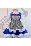 メイド服 セット lolita 華麗 白+青 可愛い お姫様