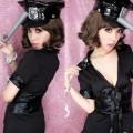 セクシー風 ブラック ポリエステル 警察官制服 2点セット衣装