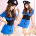 萌系 ブルー ポリエステル 警察官制服 3点セット衣装