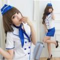 萌系 ホワイト/ブルー ポリエステル スチュワーデス制服 5点セット衣装