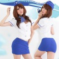 セクシー風 ブルー/ホワイト ポリエステル スチュワーデス制服 4点セット衣装