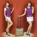 中国風 パープル ポリエステル スチュワーデス制服 2点セット衣装