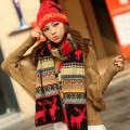 秋冬プレゼント レディース超長ボヘミアン風マフラー帽子セット厚
