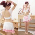 萌系 ピンク/ホワイト ポリエステル メイド服 6点セット衣装
