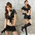 誘惑系 ブラック ポリエステル 警察官制服 3点セット衣装