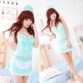 セクシー風 ブルー ポリエステル ナース服 4点セット衣装