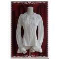 ピンタイプ弾力 シフォン*刺繍 長袖シャツ 2色