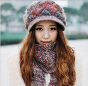 韓派冬カワイイ 毛糸帽子+マフラーレディース帽子