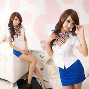 萌系 ホワイト/ブルー ポリエステル スチュワーデス制服 3点セット衣装