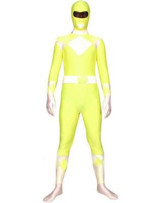 イェローとホワイト ライクラ スパンデックス 戦闘員 全身 タイツ衣装