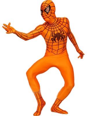 オレンジ ライクラ スパンデックス スパイダーマン 全身 タイツ衣装