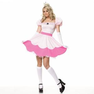 スーパーマリオ ブラザーズ ピーチ姫 コスプレ コスチュームピーチ姫 プラス 大人用 コスプレ衣装