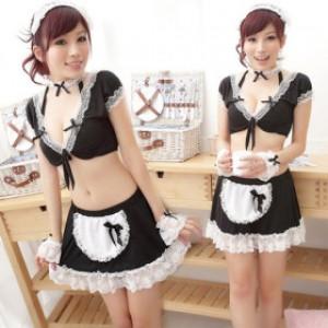 誘惑系 ブラック レース/ポリエステル メイド服 6点セット衣装