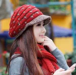 秋冬韓派ファッションカシミヤ帽子+マフラー  レディース毛糸帽子