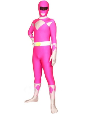 ピンクとホワイト ライクラ スパンデックス 戦闘員 全身タイツ衣装
