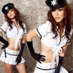 セクシー風 ホワイト ポリエステル 警察官制服 3点セット衣装