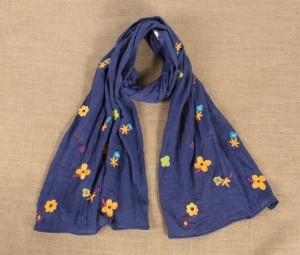 セールバーゲン 民族風 マフラー手作り星柄刺繍入り ブルーマフラーレディース