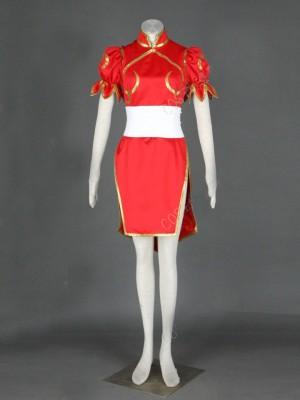 人気な春麗(チュンリー)コスプレ衣装 ストリートファイターII風 春麗 赤 コスプレ衣装
