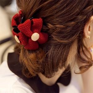 韓国風ヘアアクセサリ 毛糸 ボタン ヘアピン