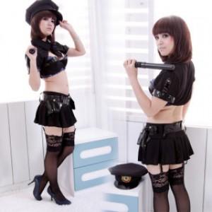 セクシー風 ブラック ポリエステル 警察官制服 5点セット衣装
