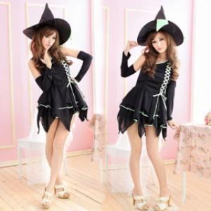 小悪魔系 ブラック ポリエステル セクシー 魔女 コスチューム 2点セット衣装