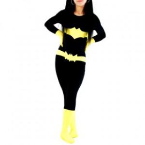 ブラック/イエロー 女性 ライクラ バットマン 全身タイツ衣装