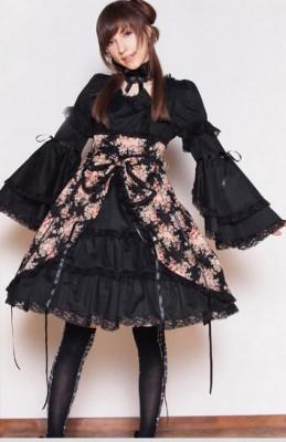 メゾネット花柄 ドレス  ゴスロリロリータパンクコスチュームメイド衣装