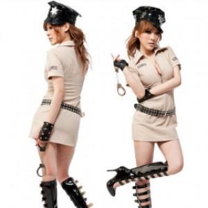 セクシー風 ライトブラウン ポリエステル 警察官制服 3点セット衣装