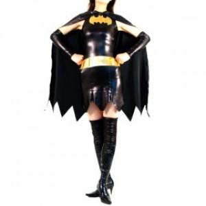 ブラック シャイニー メタリック スパンデックス バットガール 全身タイツ衣装
