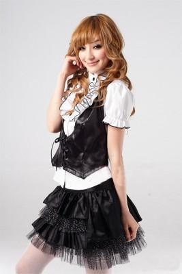 高校女性制服 ベスト ミニスカート プリンセスライン コスチューム