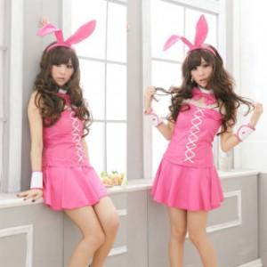 萌系 ピンク ポリエステル バニーガール服 5点セット衣装