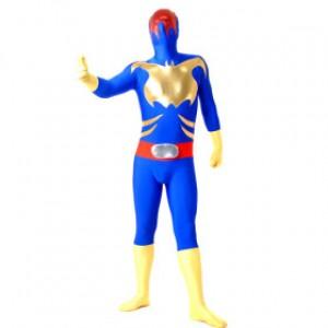ブルー ライクラ バットマン 全身タイツ衣装