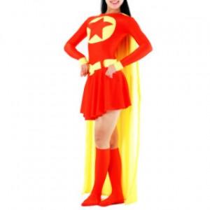 レッド/イエロー 女性 ライクラ バットマン 全身タイツ衣装