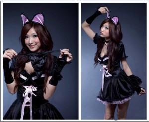 コスプレ衣装 バニー 猫耳 バニーガール衣装 コスチューム ブラック制服