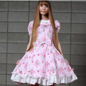 ベルーチェ リボン&フラワー柄ドレス  ゴスロリロリータパンク・コスプレコスチュームメイド衣装