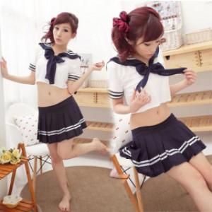 萌系/セクシー インクブルー ポリエステル セーラー服 3点セット衣装
