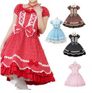 水玉Wレースアップドレス  ゴスロリロリータパンク・コスプレコスチュームメイド衣装