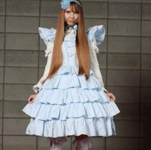 シャーリー 5段フリルコードレーンドレス  ゴスロリロリータパンクコスプレコスチュームメイド衣装