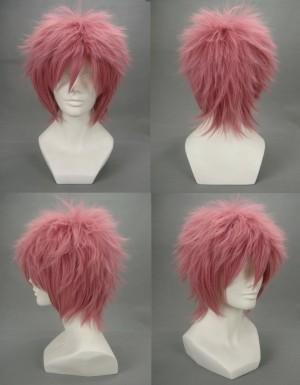 Fairy Tail ナツ・ドラグニル ピンク 耐熱新素材 ショート 逆立 コスプレウィッグ