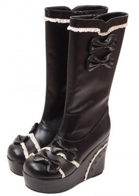 可愛いブーツをお探しの方に マチルダ ウエッジソールブーツ  ゴスロリ ロリータ パンク コスプレ コスチューム メイド