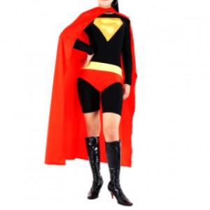 レッド/ブラック シャイニー メタリック ライクラ スーパーガール 全身タイツ衣装