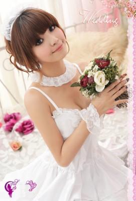 オールホワイトプリンセスライン デラックスドレス 可愛いロリータ コスチューム ステージ衣装
