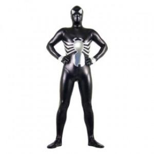 ブラック シャイニー メタリック スパンデックス スパイダーマン 全身タイツ衣装