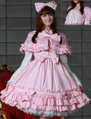 ケープ付梯子レースドレス ゴスロリ ロリータ パンク コスプレ コスチューム メイド