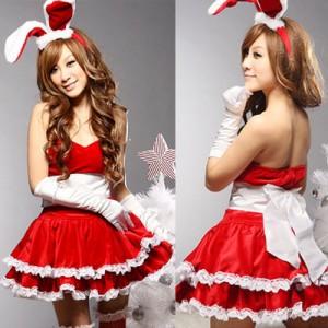 クリスマス衣装 ハロウィーン サンタ衣装 うさ耳が可愛い バニーガール