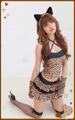 コスプレ セクシー豹柄キャットガール衣装 ネコ耳 コスチューム