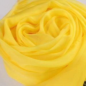 レディース 絹のスカーフ イエロー マフラー