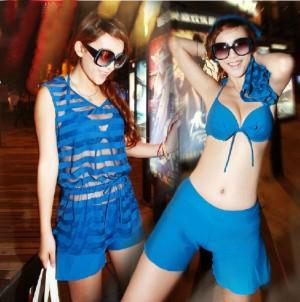 2013新作レデイース水着 セクシービキニ 透明スカート付き 女性水着